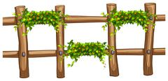Wooden fence with plant decoration - stock illustration
