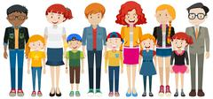 Children and adult standing Stock Illustration