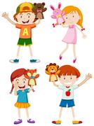 Children playing with hand puppets Stock Illustration