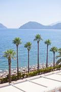 View of the Aegean sea and the beach. Marmaris. Turkey Stock Photos