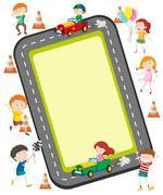 Children racing car on the road Stock Illustration