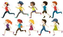 Boys and girls running - stock illustration