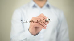 Clean Energy, writing on transparent screen Stock Footage