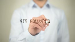 Air Pollution, writing on transparent screen Stock Footage