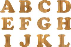 Wooden Alphabet, vector set with wood Letters, for Text Message, Title or Logos - stock illustration