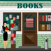 Vector bookstore mall. Books shop building Stock Illustration