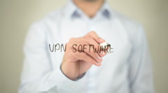 VPN Software, writing on transparent screen Stock Footage