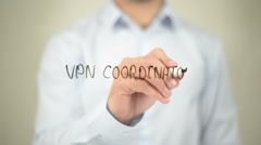 VPN Coordinator, writing on transparent screen - stock footage