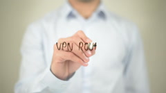 VPN Router, writing on transparent screen Stock Footage
