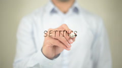 Settings, writing on transparent screen Stock Footage