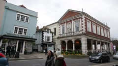 Crooked house and Windsor Museum Stock Footage