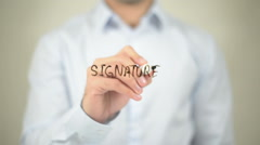 Signature, writing on transparent screen Stock Footage