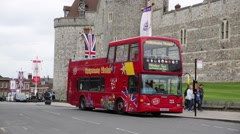 Windsor double decker bus at the Castle Stock Footage