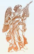 Original sketch digital drawing of marble statue  angel Stock Illustration