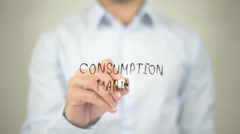 Consumption Market, writing on transparent screen Stock Footage