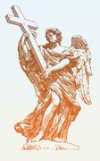 Drawing marble statue of angel from the SantAngelo Bridge in Stock Illustration