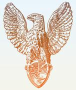 Digital drawing of heraldic sculpture eagle in Rome, Italy Stock Illustration