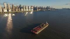 Stationary View Of Oil Tanker & Tug Boat on Hudson River Viewing Uptown - stock footage