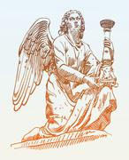 Sketch drawing of marble statue angel from Rome, Italy Stock Illustration