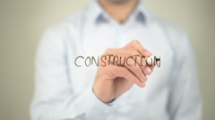 Construction, writing on transparent screen Stock Footage