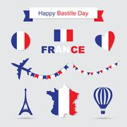 French flag and map icons set. Eiffel Tower icon - stock illustration