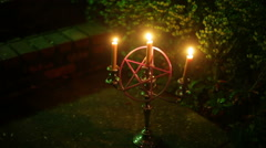 Pagan altar concept outside out Stock Footage