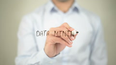 Data Mining, writing on transparent screen Stock Footage