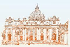 St. Peters Cathedral, Rome, Vatican, Italy. Hand drawing - stock illustration