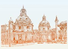 Original digital drawing of Rome Italy cityscape for your travel Stock Illustration