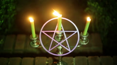 pagan altar outside fire candles candle - stock footage