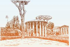 Sketch hand drawing of Rome Italy famous cityscape, travel card Stock Illustration