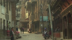 Nepal 1 Year After the Earthquake. Up the Streets in Kirtipur Stock Footage
