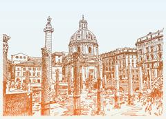 original sketch hand drawing of Rome Italy famous cityscape, tra - stock illustration