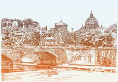 drawing of Rome Italy cityscape, type bridge in river and Sai - stock illustration