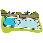 Man using solar blanket pool cover Stock Illustration