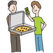 Man paying pizza delivery guy - stock illustration
