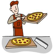 Cook preparing and slicing pizza Stock Illustration