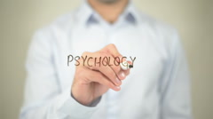 Psychology, writing on transparent screen Stock Footage
