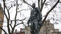 Modern Soldier Statue in Windsor Stock Footage