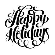 black and white calligraphic Happy Holidays hand writing inscrip - stock illustration