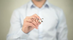 Sync, writing on transparent screen Stock Footage