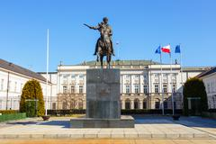 Polish Presidential Palace with statue of Prince Jozef Poniatowski - stock photo