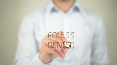 Access Denied, writing on transparent screen - stock footage