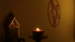 Pagan temple paganism ritual chamber Stock Footage