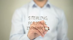 Stealing Personal Information, writing on transparent screen - stock footage