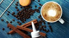 Barista making art latte. Love Stock Footage