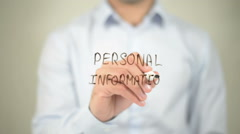 Personal Information, writing on transparent screen Stock Footage