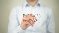 Password Protected, writing on transparent screen Stock Footage