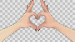 3D HAND HEART GESTURE TRANSITION 4K VIDEO ANIMATION. TRANSPARENT ALPHA CHANNEL. Stock Footage