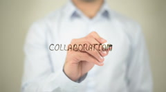 Collaboration, writing on transparent screen - stock footage